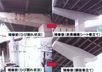 ASRによる橋脚のひび割れと補修完了状況