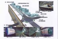 シールドトンネル完成パースと導入されるリニアモーター車両、シールドマシン、掘進完了状況