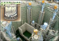 新家調節池 ニューマチックケーソン工法施工状況と完成パース(左上)
