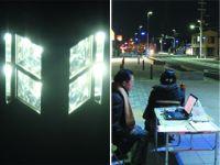 新しい灯具、右:青白LED現地実証試験状況